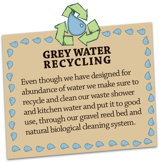 GREY WATER RECYCLING Even though we have an abundance of water we make sure to recycle and clean our waste shower and kitchen water and put it to good use, through our gravel reed bed and natural biological cleaning system.